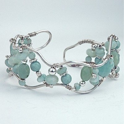 Wired Cuff Bracelet in Aqua by thebeadgirl