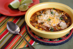 lovelylovelyfood:  Chicken Tortilla Soup with Shredded Cheese and Corn