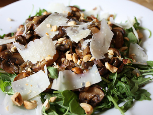 lovelylovelyfood:  Warm Mushroom Salad with Shallots, Hazelnuts, and Pecorino