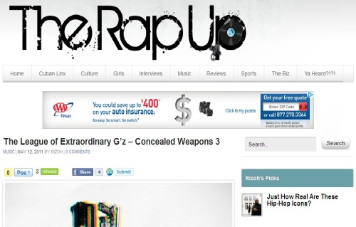 Shout out to @Rizoh at the RapUp.net for the dope write up! http://therapup.net/2011/05/the-league-of-extraordinary-gz-concealed-weapons-3/