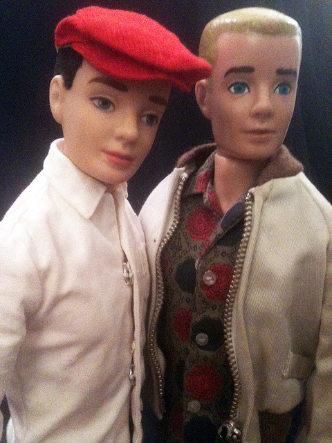 Ken and Erik. Getting to know each other… on Flickr.My Vintage Reproduction Ken wanted to welcome Erik, my new, blond Vintage Ken to the neighborhood. They think they are going to be good friends. Flocked Ken is wearing the shirt from Victory Dance, grey pack slacks, and his favorite hat from Rally Day. Erik is wearing The shirt from Sport Shorts, brown pak slacks, and the tan windbreaker.
