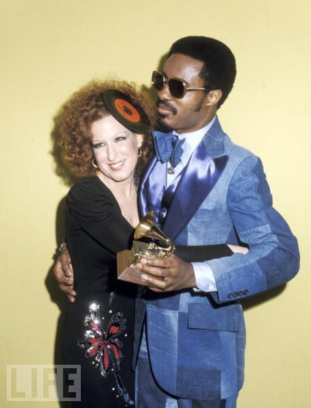life:  Happy Birthday Stevie Wonder!— Pictured: Bette Midler & Stevie Wonder at the 1975 Grammys