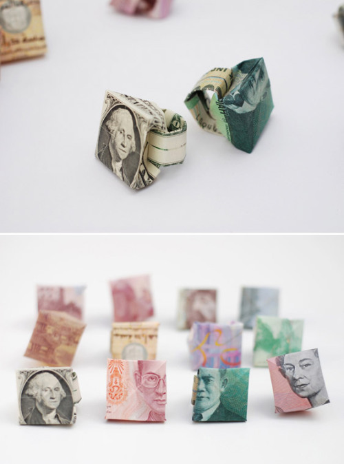 Sophie Kemp makes giving money as a gift memorable by creating origami rings with the bill.  (via Creative Review)