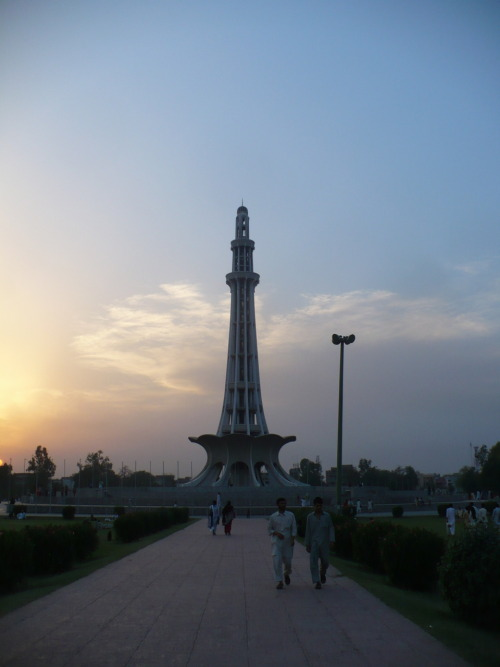 Minar-e Pakistan, Lahore, Pakistan. Built in memory to the Pakistan Resolution. About as tall as my dorm was last year. 200 feet or so.