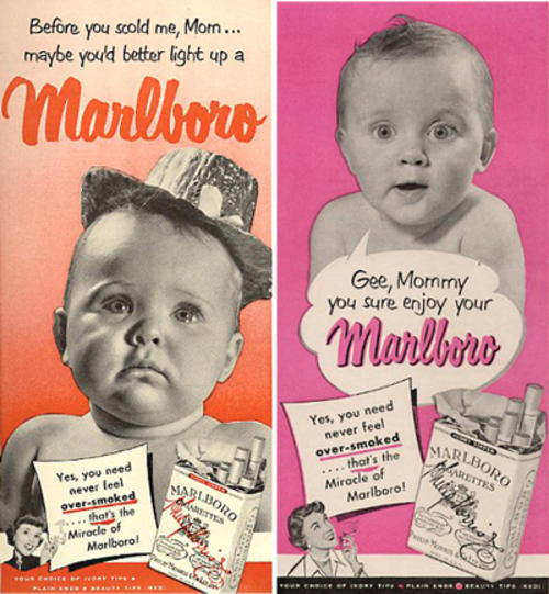 It's a little known fact that Marlboros were not always considered a man's cigarette. Until 1954, when the Marlboro Man was introduced, filtered cigarettes such as Marlboros were considered a lady's cigarette.