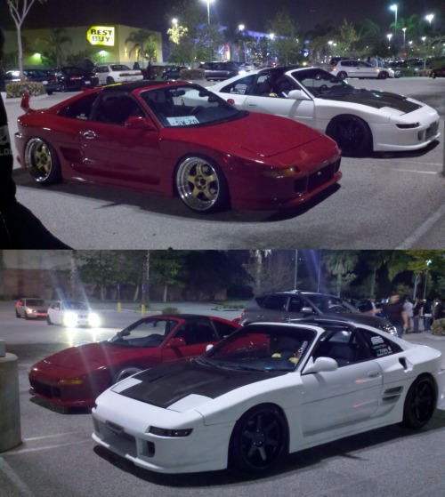 My MR2 sitting pretty next to my buddy's red TRD wide body MR2.