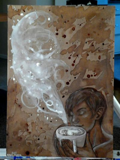 Coffee, watercolour pencil and white gouache on MDF board, 30cmx42cm