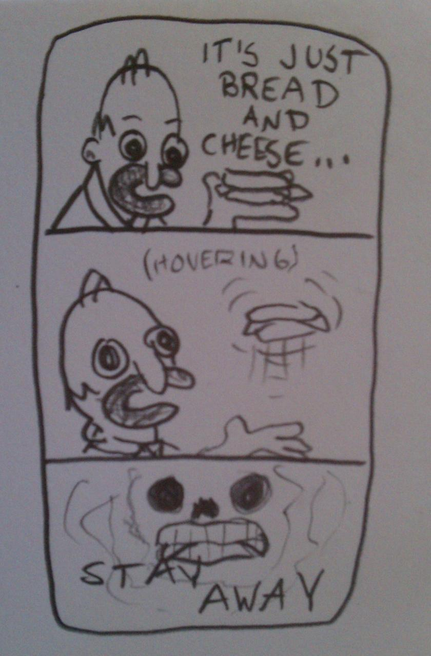 chickensnack:  Bread and cheese  reblogging this spooky classic homer comic
