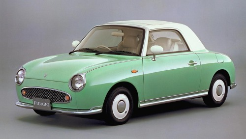 "Nissan Figaro (1991) I feel like a teenage girl (I'm neither) everytime I look at the Figaro. I instantly forget everything I know about car design and mechanics and all I can say is: ""Ohhhh, it's so cute!"" But being manly for a moment: the Figaro wasn't more than a Micra restyled to look like something straight from the sixties. It sold very well in Japan, and a few were imported to Europe, making the Figaro a true fashion accessory that wasn't available to everyone. I'm not too keen on the 3-speed automatic gearbox, but apparently the Figaro isn't a slouch at all. 12 seconds to 60mph is pretty respectable for a tiny matchbox like this. I like the Figaro a lot."