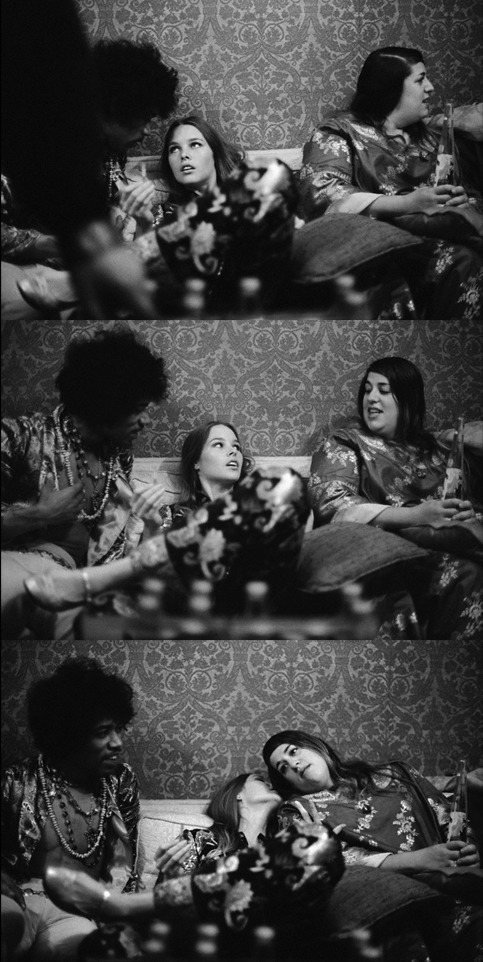 aconversationoncool: Jimi Hendrix, Michelle Phillips and Cass Elliot (of the Mamas & the Papas) backstage at the Hollywood Bowl, 1967