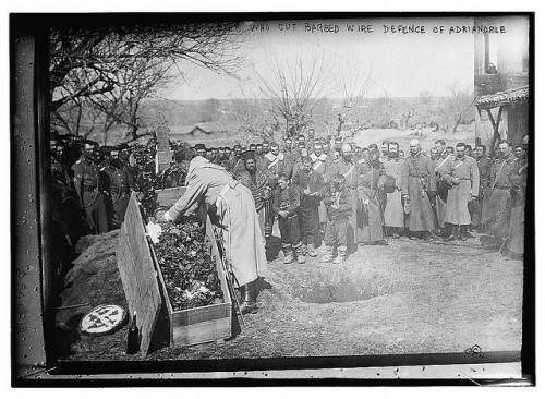 """Burying soldier who cut barbed wire defence of Adrianople (LOC),"" 1913. Source: The Library of Congress on Flickr."