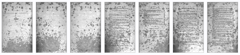 Mold-spotted pages digitized in black and white From front matter of American Journal of Science, v.8 (1824). [Here]