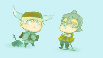 I had this over in my main blog~ MOVED IT HERE. Butters and Kenny dressed like vikings from HTTYD. XD