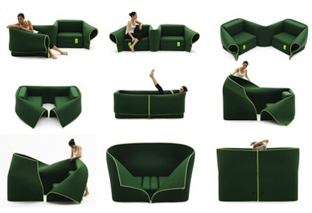 S2 tmrprtmn:  The Milanese designer Emanuele Magini sign this sofa for the publisher Campeggio. Consisting of 2 chairs connected by a flexible fabric flap, Sosia can take many forms and offer as many usage scenarios. It is used by  such as two seats side by side, corner or face to face, as an extra bed or even an enclosed cab or if the flap is raised.