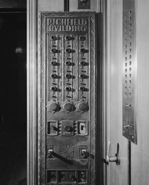 Interior of an elevator in The Richfield Building - Los Angeles, CA 1928 - 1969