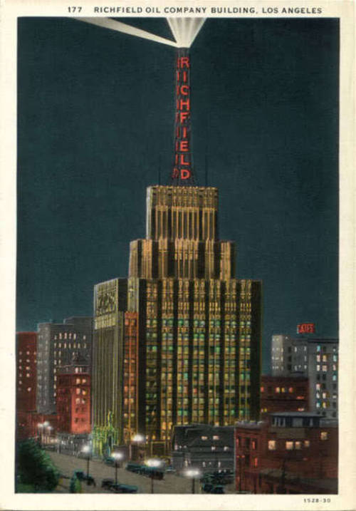Postcard of the Richfield Building, showing it's sweeping beacon light at the top -Los Angeles, CA   (1928 - 1969)