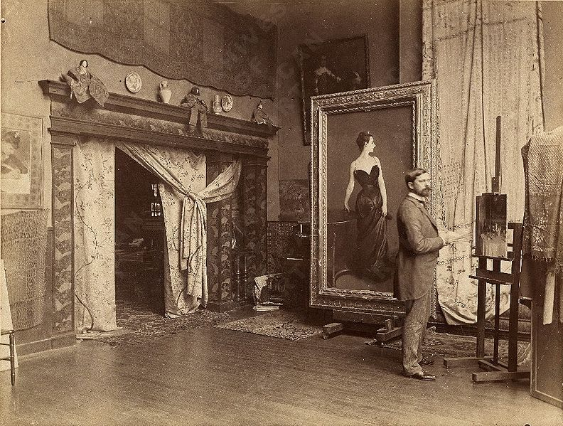 iamnomes:  snowce:  John Singer Sargent in his studio with his Portrait of Madame X, 1884, Paris