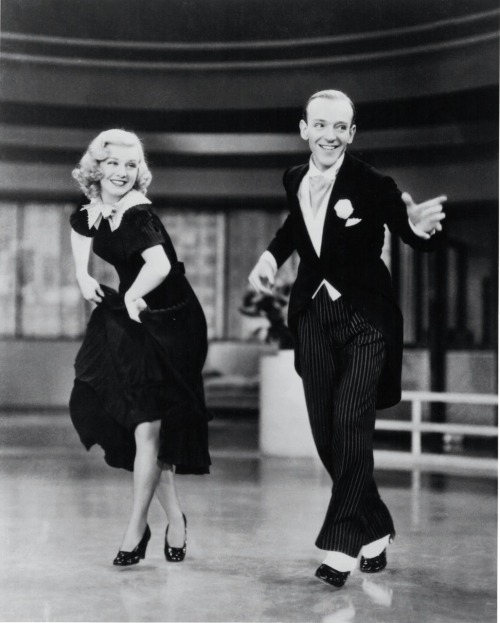 "historiful:  Actress Ginger Rogers (1911-1995), with dancer Fred Astaire (1899-1987), in George Stevens' film, ""Swing Time,"" 1936."