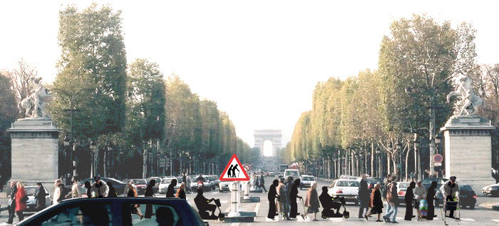 "This picture is the first step of   visualizing  the future in Paris. The change in population in the next 20 years, will  yield a significantly larger percentage of the elderly in Paris  (somewhere around 40% of the population, compared to the 15% we are at  today). This demographic change is a large result of the Baby Boomer  effect after WWII. This vision shows the changes that would need to be made. In such a  densely populated city, special accommodations would be required. While a  slight jab at humor, the sign itself ""Elderly Crossing"" signifies the  demographic change in Paris. Just because people are older, does not  mean they are willing to change their lifestyles, or move out of a  bustling city. Therefore, the city will change in order to accommodate  this growing age group."