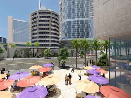The Capitol Records Tower could get some tall neighbors. The tower's owners are seeking approval for Millennium Hollywood, a 1-million-square-foot project including two skyscrapers that would be mostly residential but would also have a hotel, offices, restaurants and stores. Photo:  A computer rendering shows the proposed development around the Capitol Records Tower on Vine Street in Hollywood. Buildings on the 4.5-acre site would be situated to preserve views of the tower. Credit: Handel Architects