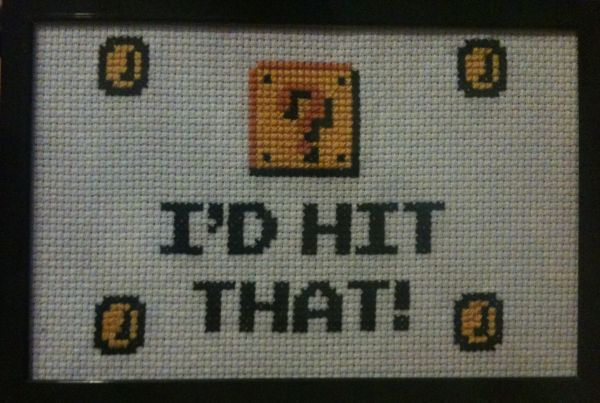 'I'd Hit That' Mario cross stitch. $15