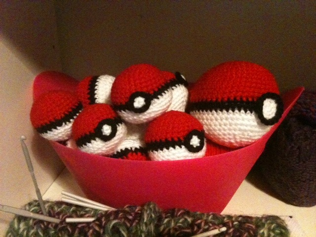 Pokeballs! $3 ea for the small ones or $15 for 6. I also do a slightly larger version for $5 ea.