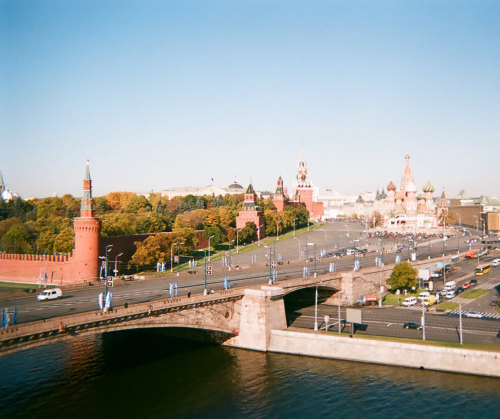 This is the view from my window. The Kremlin (left) St. Basil's (right)
