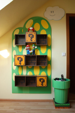 I understand this is for a child's room, but I would LOVE to have this in my house.  storagegeek:  Mario Furniture via Neatorama This Maria furniture is an amazing reader submission to Neatorama. Don't you love the attention to detail? As much as I love the wall boxes I think my favourite piece is the warp tube end table. I encourage you to click th link and have a look at some great photos. There is also a faux game boy screen clock and just for giggle an amazing looking home built light saber. (All pieces were built by reader's girlfriend Judith.)