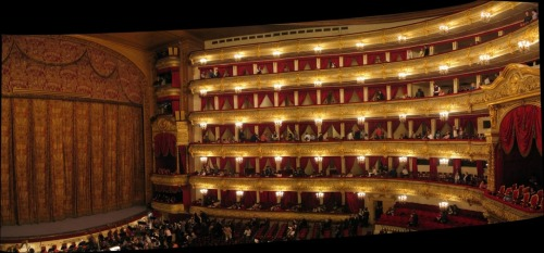 Inside the Bolshoi Theatre in Moscow. This is a picture I found on the web. Sorry, but I did not bring a camera into the opera like some tacky tourist.