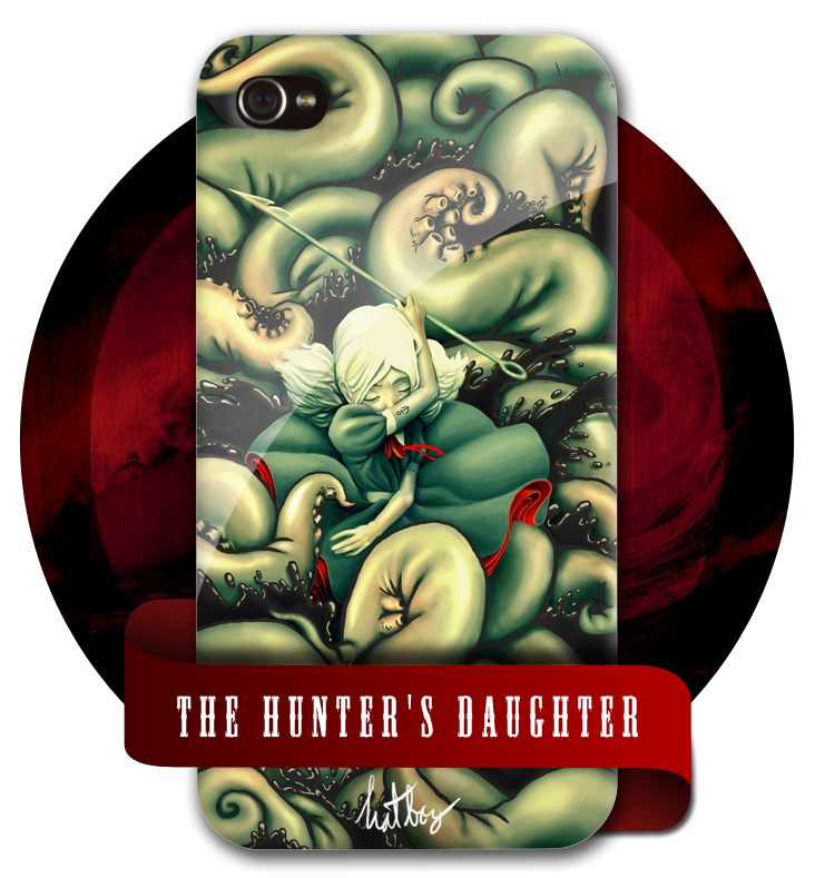 The Hunter's Daughter (On iPhone 4) It is now up on Threadless! Huzzah! Help would be greatly appreciated, whether by giving it a high score on Threadless, or even at least reblogging it. Those who will help, will receive my love. It's good love. I've been producing it for 20 years now. Click through to help bring the design to existence! :D