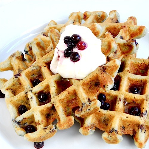 boyfriendreplacement:  Blueberry Sour Cream Waffles Recipe