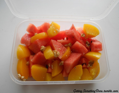 peaches, water melon, walnut and sunflower seeds