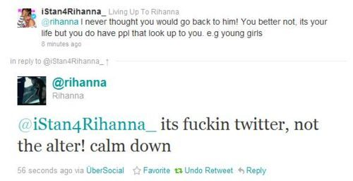 """Apparently Rihanna and Chris Brown started following each other on Twitter this week, which I think is pretty cute. They were one of my favorite celeb couples and despite the controversy that happened between them, I think it's cool they're looking past it. Now this is my opinion about """"the following"""" but the picture attached is what a fan wrote to Rihanna. I personally believe Rihanna is right and this chick needs to #SItDown…"""