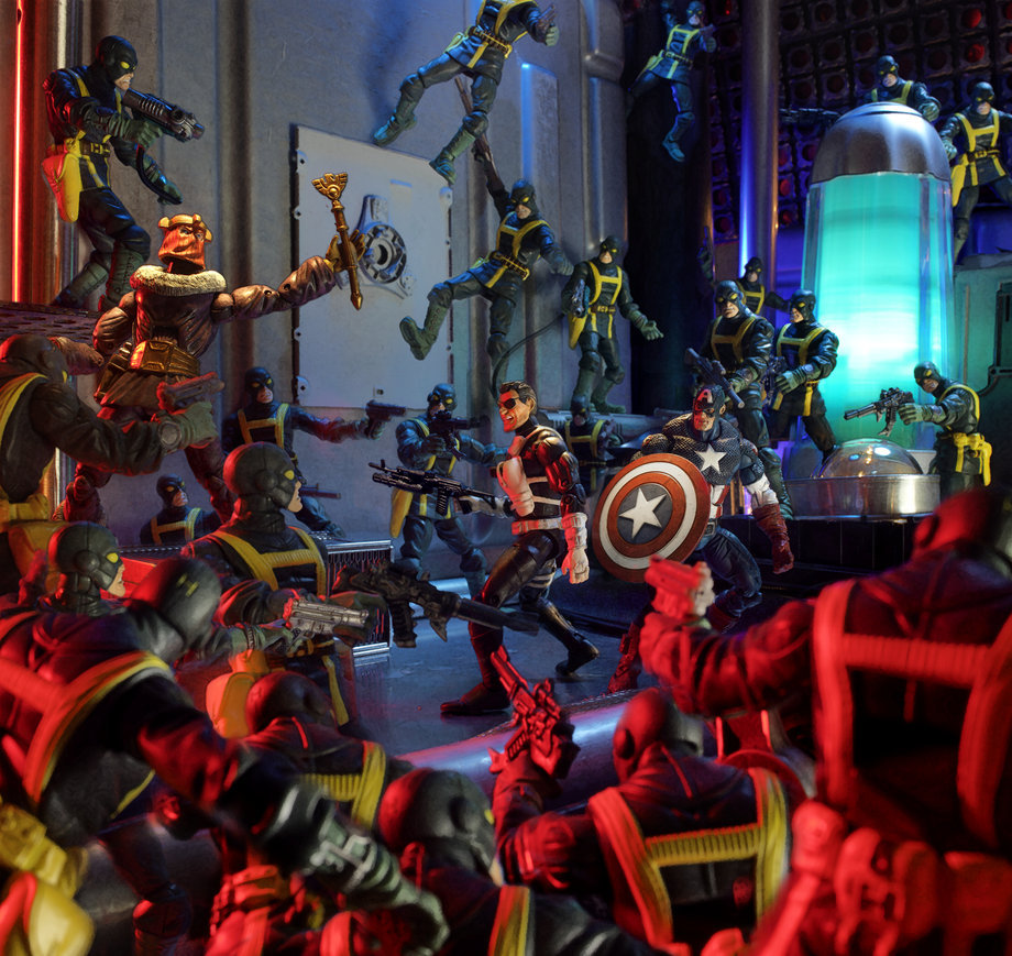 Fury's Last Stand ManOfAction7666 put together this diorama of Nick Fury and Captain America taking on Baron Zemo and the hordes of HYDRA. They're all from Hasbro's Marvel Legends line of action figures. According to ManOfAction7666, the entire process of making the set, photographing it, and editing in Photoshop took about two days. And the army of HYDRA goons is actually the same single action figure Photoshopped into different poses about two dozen times!