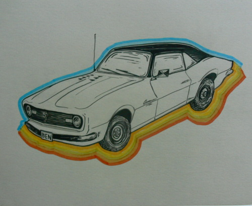 George Benedict Murray III needed a drawing of a 1968 Camaro. Ink, marker 12x12 in.