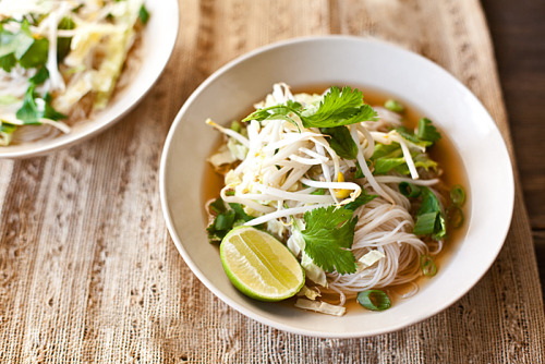 lovelylovelyfood:  Vegan-Friendly Vietnamese Pho with Shiitake Mushrooms, Cilantro, Thai Basil, and Lime Garnish