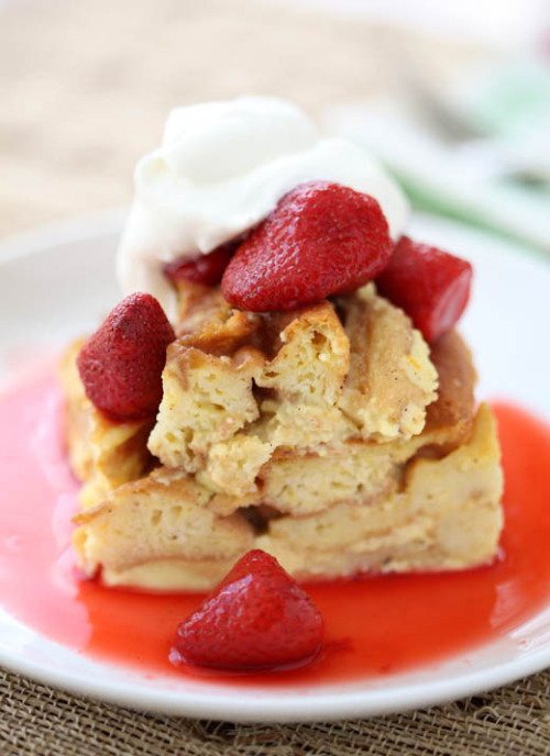 Waffle Bread Pudding with Strawberry Sauce Out of everything I've ever posted, this has to be the greatest. Bread pudding made with waffles. My mind = blown.