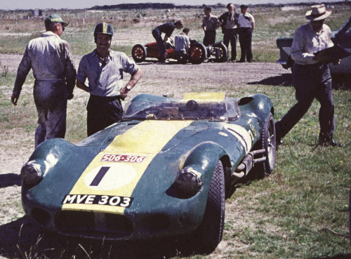 1958 Teretonga NZ Grand Prix series.Found film slide.Photographer unknown.   Lister Jaguar MVE 303 owned by Archie Scott Brown [pictured].He was killed later that year.Very famous racing car.Shipped from England in 1958..this is the last known photo before it disappeared.