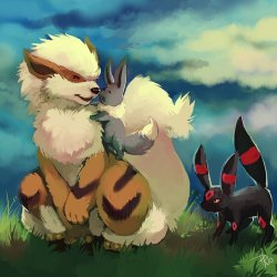 for my two new follwoers!! =D <3 thecountyblues  & skeuylian   Arcanine + Eevee by *purplekecleon