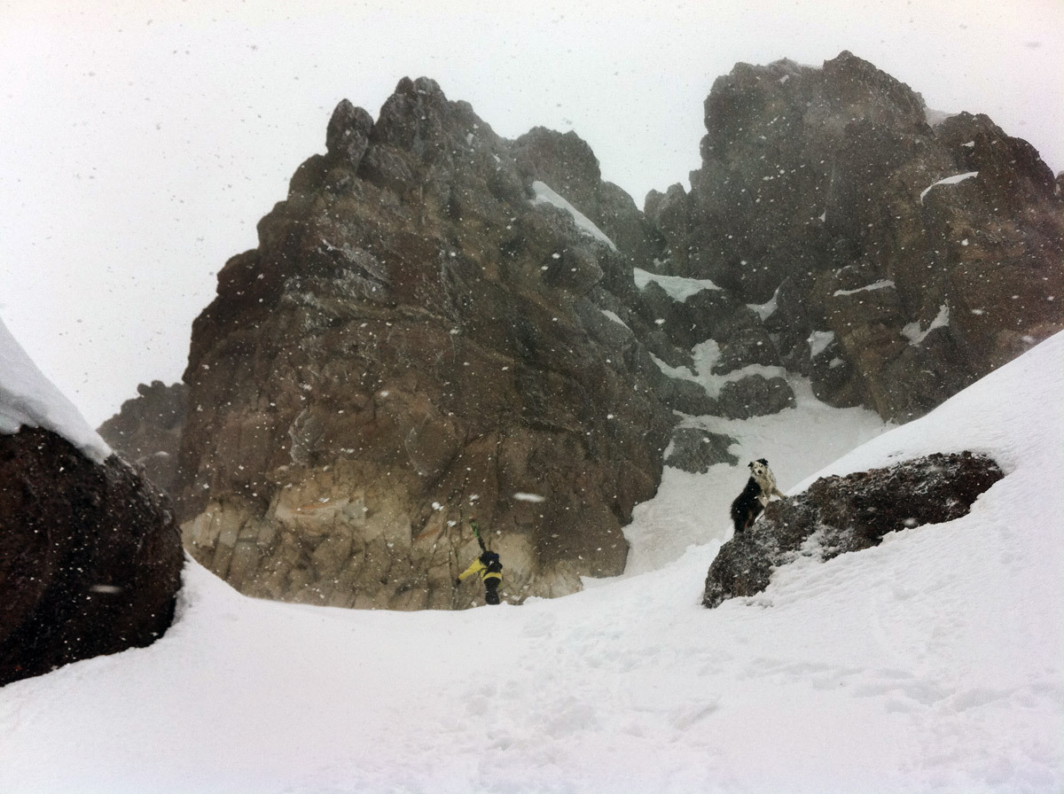 Sammy P. and Pepi, Pinnacles Butte. Conditions: lightly frosted shmoo.