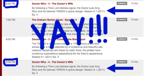 "doctorwho:  YAY! The Doctor's Wife will be on at the same time east coast *AND* west coast time!  BBC America will be airing the premiere of Doctor Who ""The Doctor's Wife"" at 9p EDT and 6p PDT. This means that EVERYONE CAN HANG OUT WITH US ON TUMBLR AT THE SAME TIME!!!ALLCAPS!! Even so, we're going to still livetumbl the 9p PDT showing and we're going to like it.  We made the mistake of assuming that time zones were a strict progression of cause to effect, but  actually, from a non-linear network television viewpoint, it's more like a  big bowl of wibbly wobbly timey wimey…. Oh, you know. Thx for the heads up, Brianna!   Its been like that for weeks! They always play it twice! And I always watch it twice"