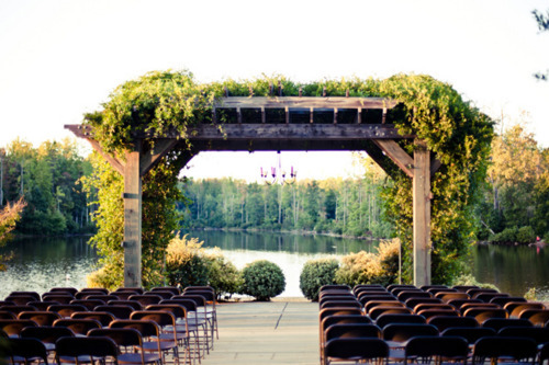 Outdoor wedding ceremony with a view