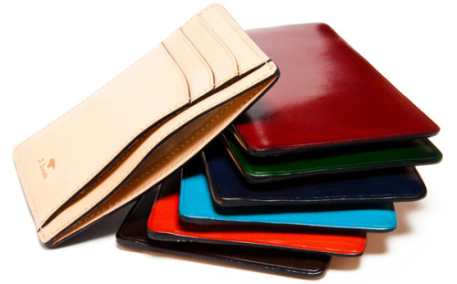 You should get this. Il Bussetto slim wallet.  Just big enough to fit your ID, Amex and Metro card - what more do you need?  Beautiful leather, hand made and hand colored.  Or maybe something different. Visit their showroom outside of Milan, or wait for Bonobos to get them back in stock.