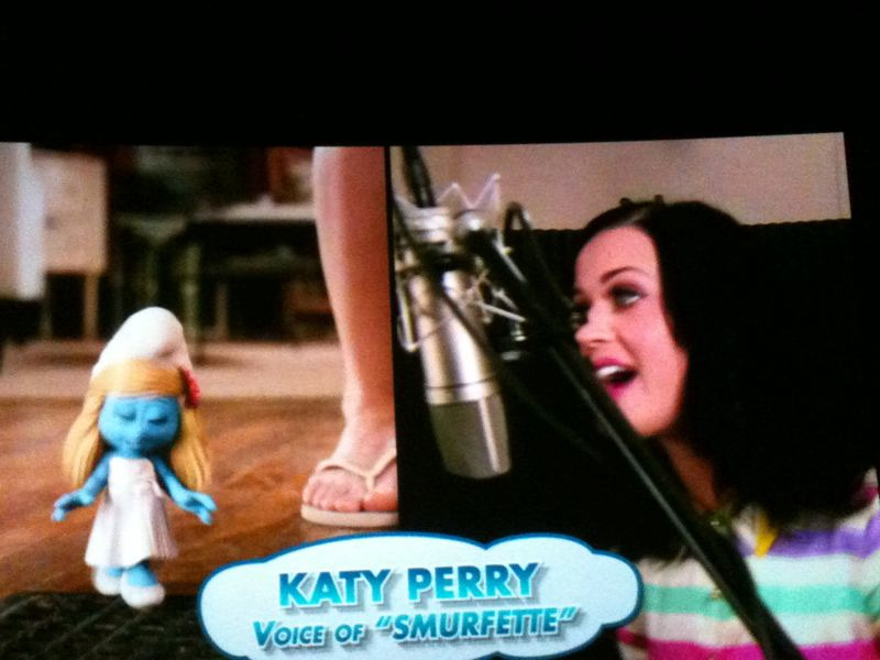 Snuck some Katy Perry Smurfette pictures at the movies.