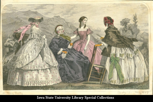 Dresses for the elderly, women and teens, 1859 United States, Godey's Ladies Book