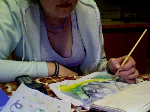 May 14th, 2011: Painting with tat. longgg day.. things have been kind of turning for the worst lately… About to get even more complicated. joy.