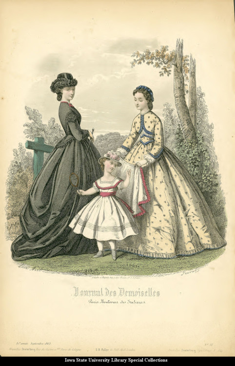 Riding habit and day dresses for women and young girls, 1863 France, Journal des Demoiselles