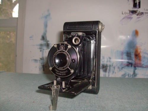 Up for sale is a Kodak Vest Pocket Hawkeye.  This is also an incredibly old camera and is also in perfect condition. The guy I bought it from kept it on display in his camera shop for a long time so the condition is fantastic.   PRICE: $45. After purchase we will specify shipping, but I assume it will be approximately $5-8. I will accept personal checks, cash, or PayPal.  Items will not ship until check has cleared or cash has been received.  Thanks!