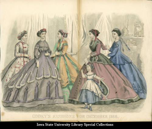 Dresses for women and girls, 1866 United States, Godey's Fashions