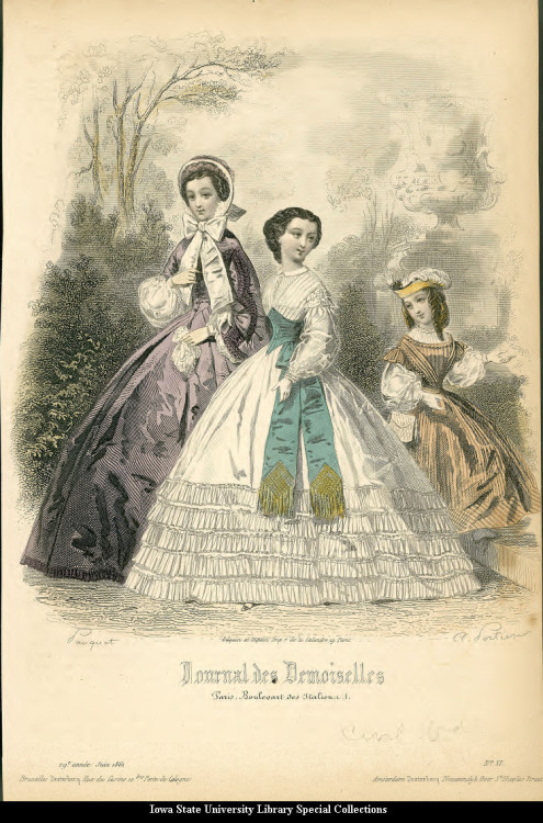 Walking dresses for women, teens and girls, 1861 France, Journal des Demoiselles